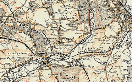 Old map of Croxley Green in 1897-1898