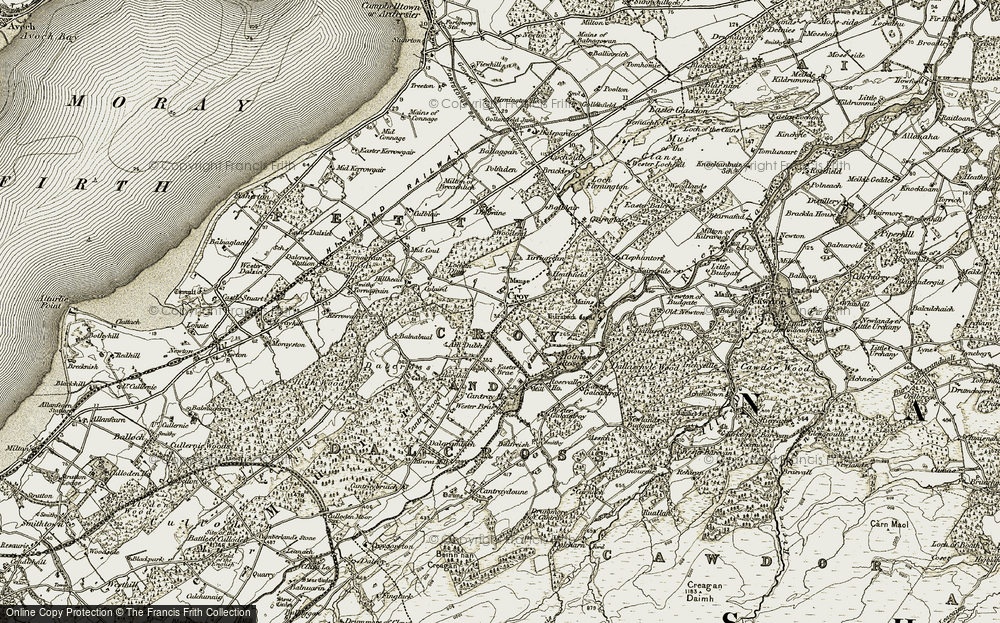 Old Map of Historic Map covering Assich in 1911-1912