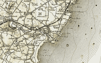 Old map of Auchiries in 1909-1910