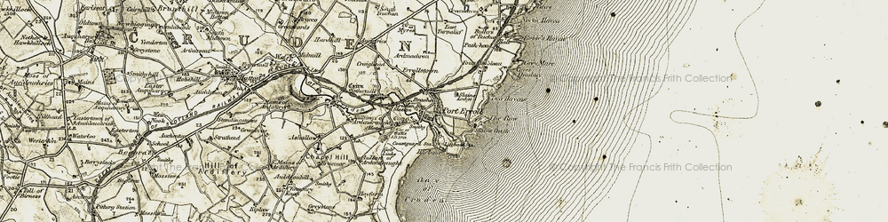 Old map of Cruden Bay in 1909-1910