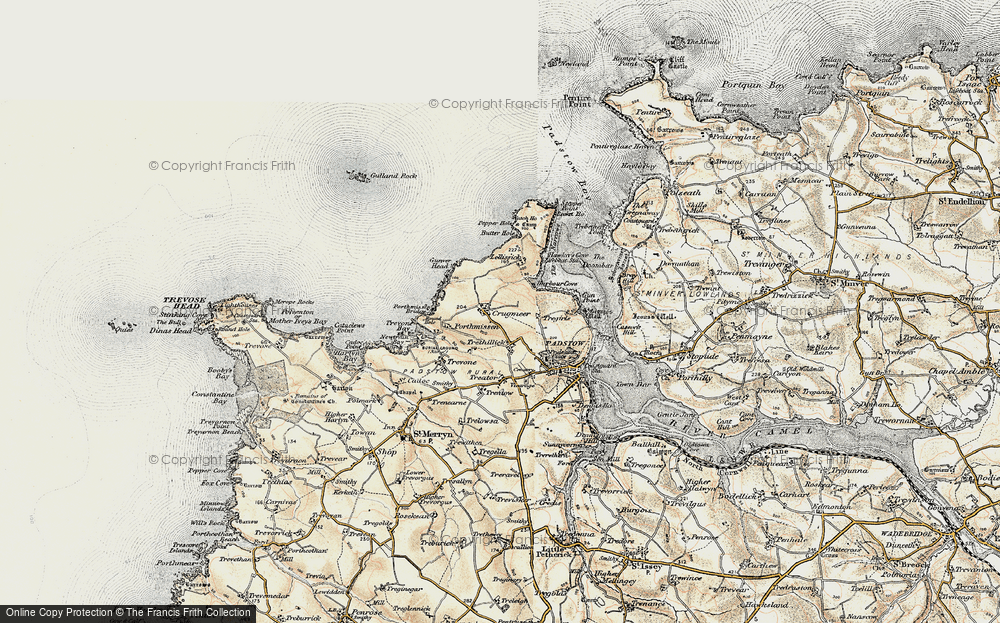 Old Map of Historic Map covering Lellizzick in 1900