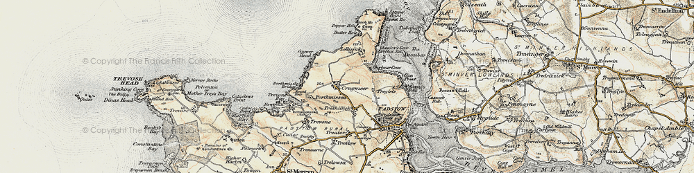 Old map of Lellizzick in 1900