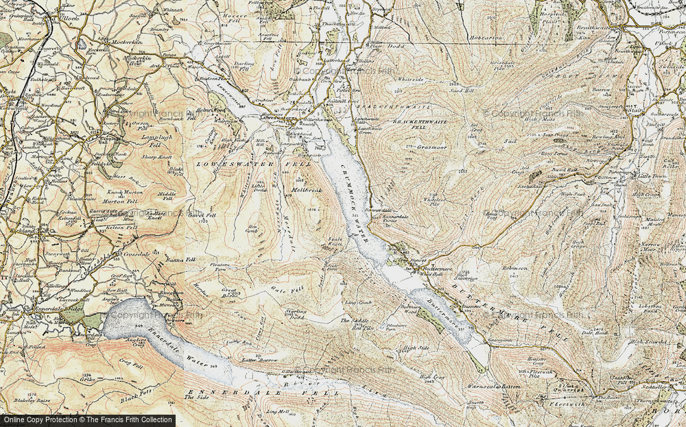 Old Map of Historic Map covering Ling Crags in 1901-1904