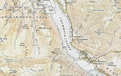 Old map of Ling Crags in 1901-1904