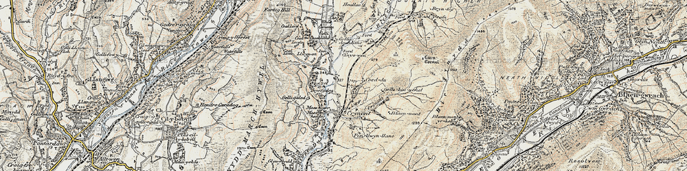 Old map of Crynant in 1900-1901