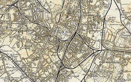 Old map of Crystal Palace in 1897-1902