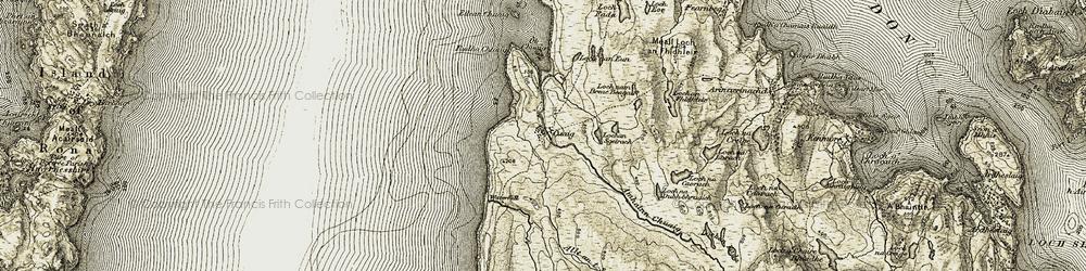 Old map of Abhainn Chuaig in 1909