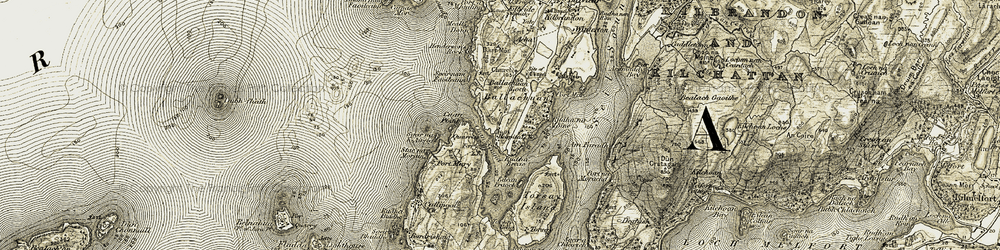 Old map of Am Faradh in 1906-1907