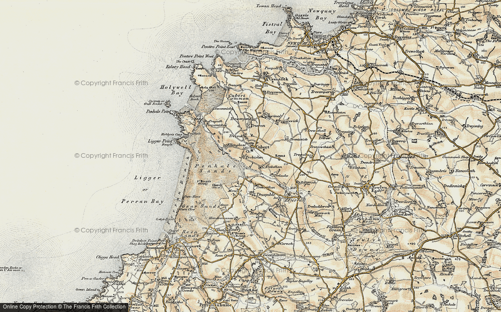 Old Map of Cubert, 1900 in 1900