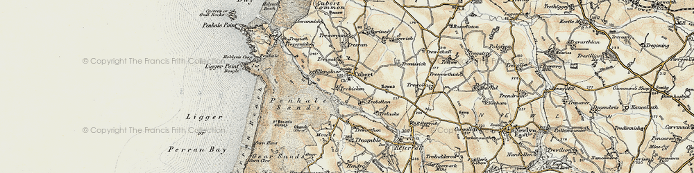 Old map of Cubert in 1900