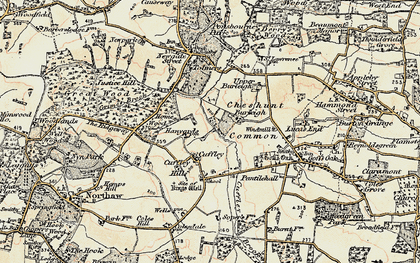 Old map of Cuffley in 1897-1898