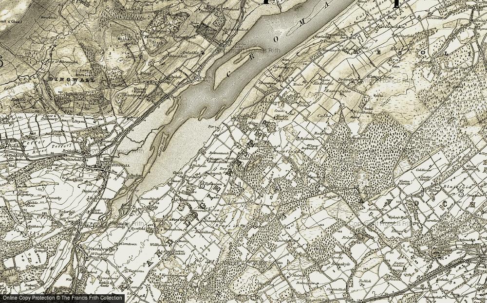 Old Map of Historic Map covering Badenerib in 1911-1912