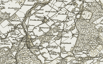 Old map of Tomluncart in 1911-1912