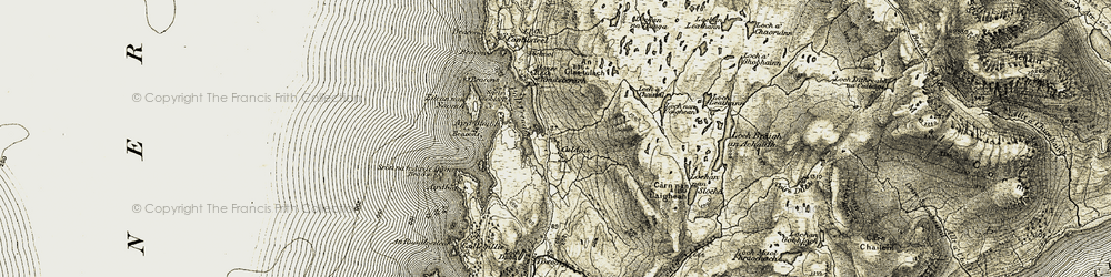 Old map of Ard-Dhubh in 1908-1909