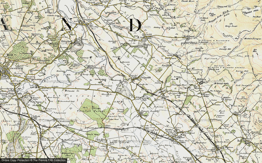 Old Map of Historic Map covering Whinfell Ho in 1901-1904