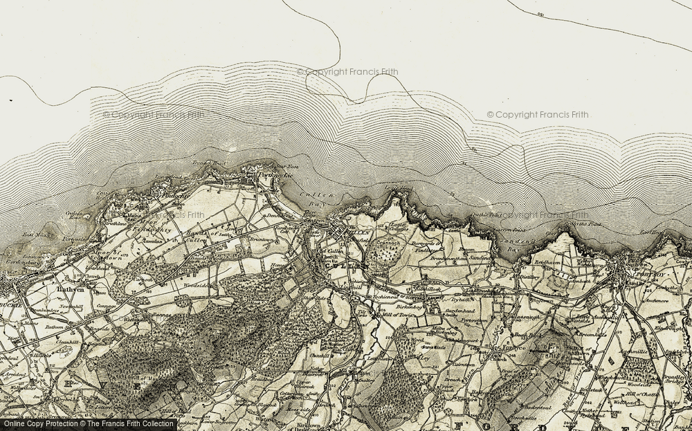 Old Map of Cullen, 1910 in 1910