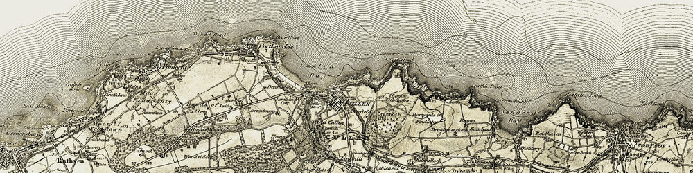 Old map of Cullen in 1910