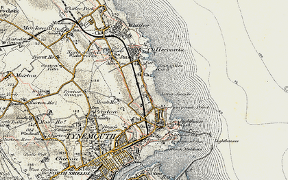 Old map of Cullercoats in 1901-1903