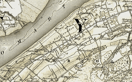 Old map of Alness Bay in 1911-1912