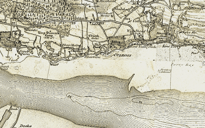 Old map of Culross in 1904-1906