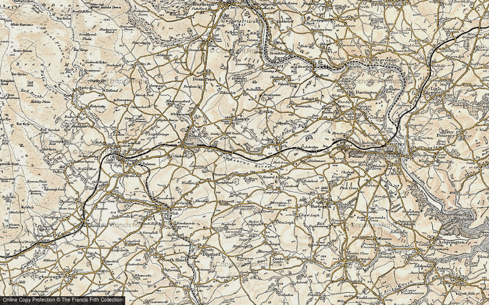 Old Map of Historic Map covering Lincombe in 1899