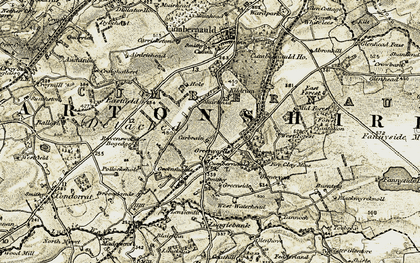 Old map of Cumbernauld in 1904-1907