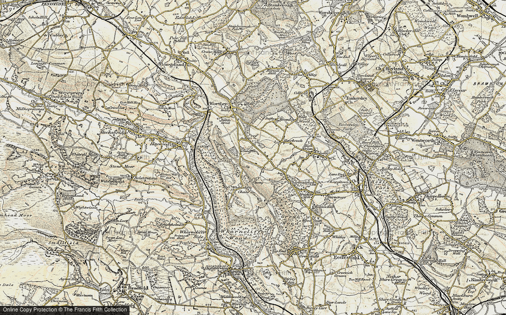 Old Map of Historic Map covering Wharncliffe Chase in 1903