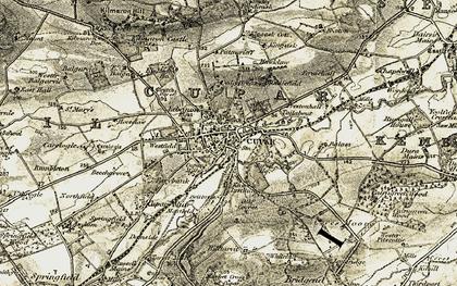 Old map of Cupar in 1906-1908