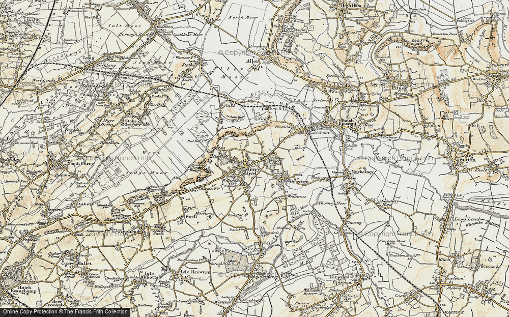 Old Map of Curry Rivel, 1898-1900 in 1898-1900