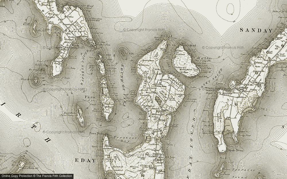 Old Map of Historic Map covering Lesshamar in 1912