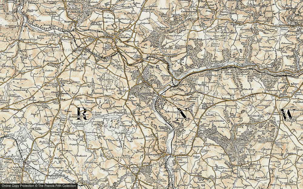 Old Map of Historic Map covering Lanhydrock House in 1900