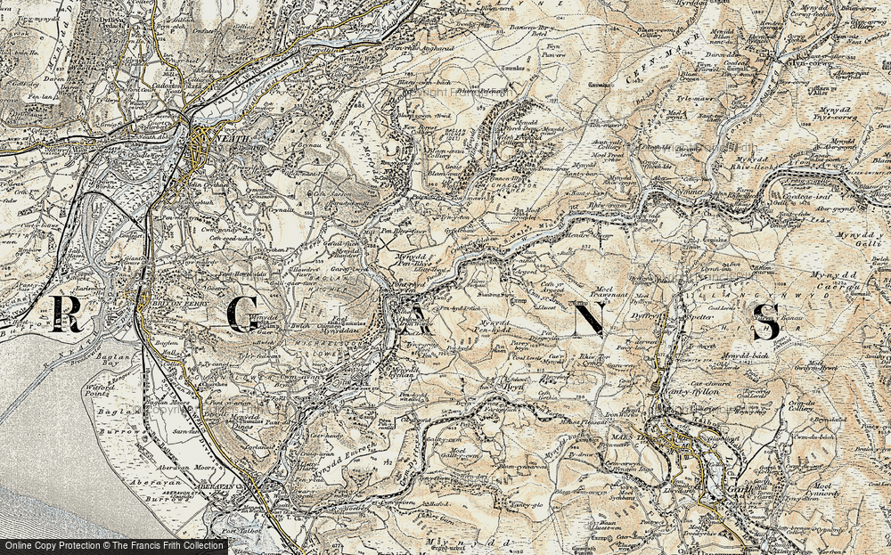 Old Map of Historic Map covering Afan Argoed Forest Park in 1900-1901