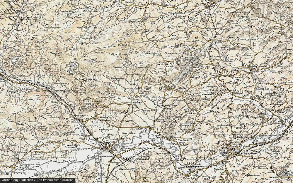 Old Map of Historic Map covering Alltyffynnon in 1902-1903