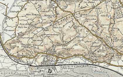 Old map of Cwm Capel in 1900-1901