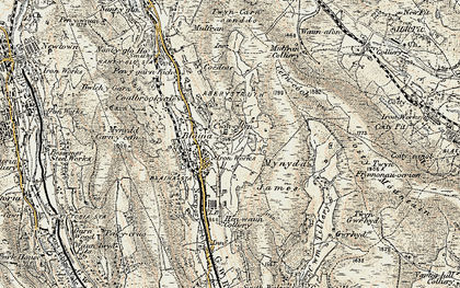 Old map of Mynydd James in 1899-1900
