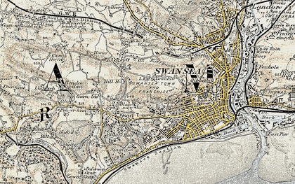 Old map of Cwm Gwyn in 1900-1901