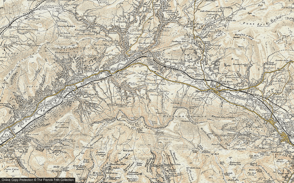 Old Map of Historic Map covering Y Foel Chwern in 1899-1900