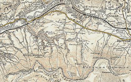 Old map of Y Foel Chwern in 1899-1900
