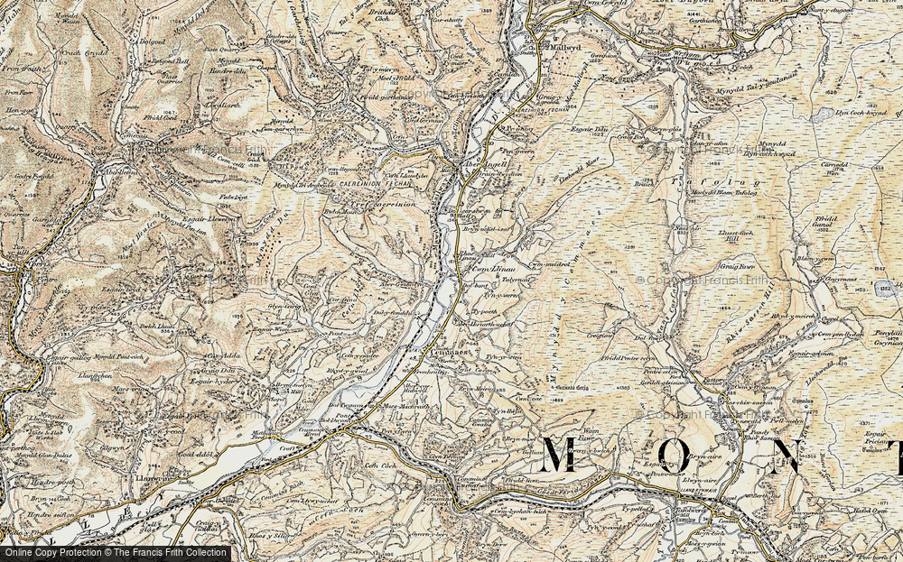Old Map of Historic Map covering Afon Llinau in 1902-1903
