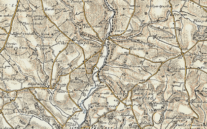 Old map of Afon Taf in 1901