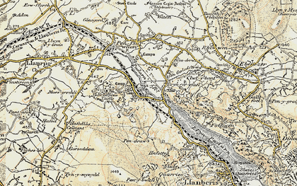 Old map of Cwm-y-glo in 1903-1910