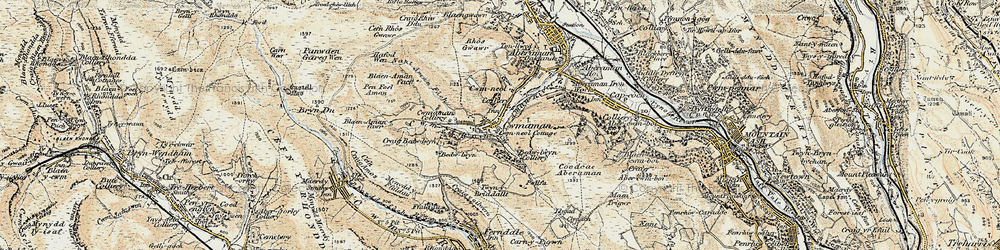 Old map of Cwmaman in 1899-1900
