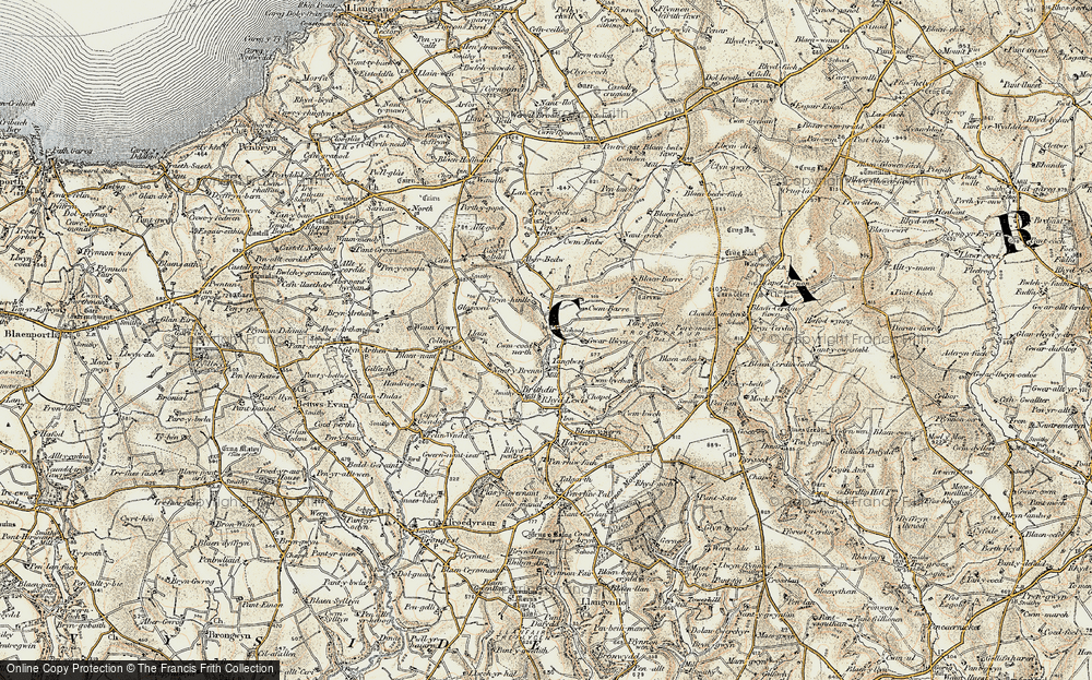 Old Map of Historic Map covering Aberbedw in 1901