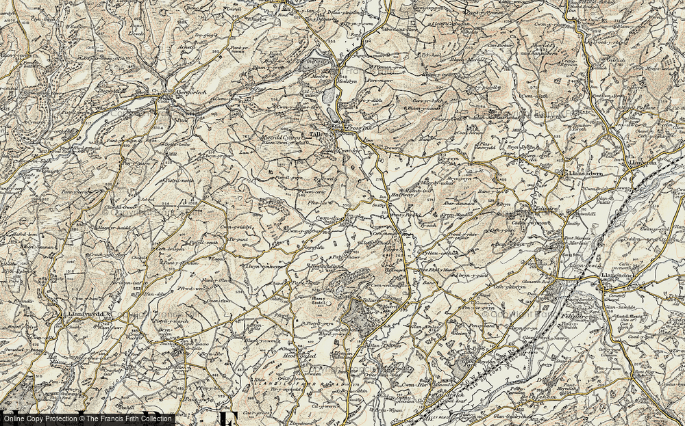 Old Map of Historic Map covering Tirpant in 1900-1901