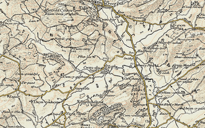 Old map of Cwmdu in 1900-1901