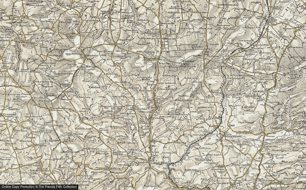 Old Map of Historic Map covering Afon Bele in 1901