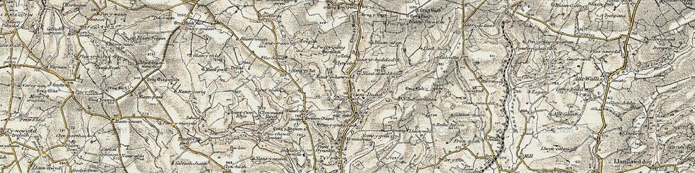 Old map of Afon Bele in 1901