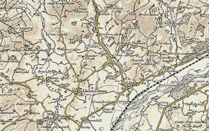 Old map of Cwmdwr in 1900-1901