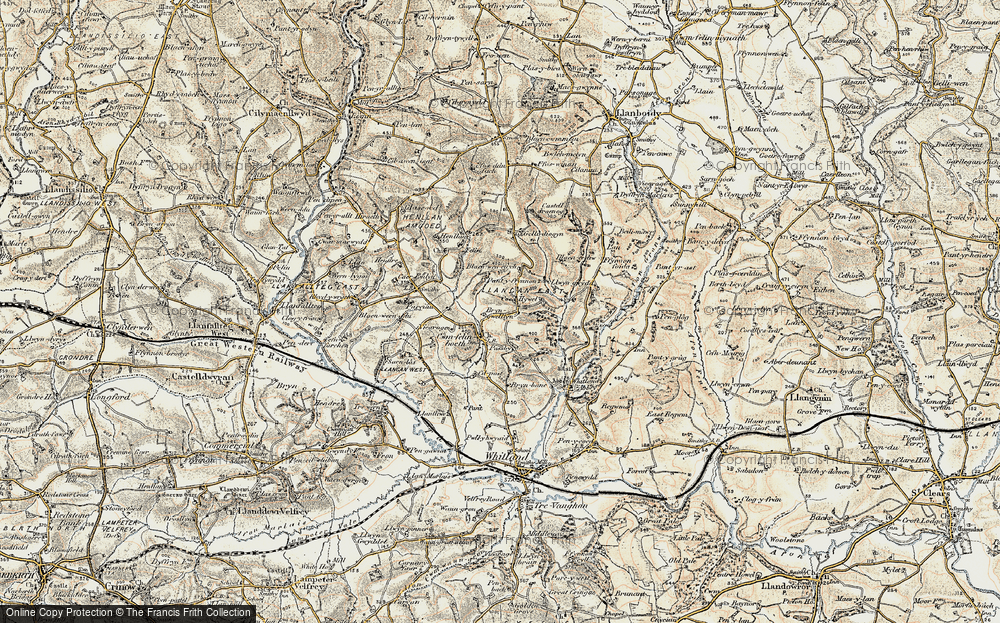Old Map of Historic Map covering Baily Mawr in 1901