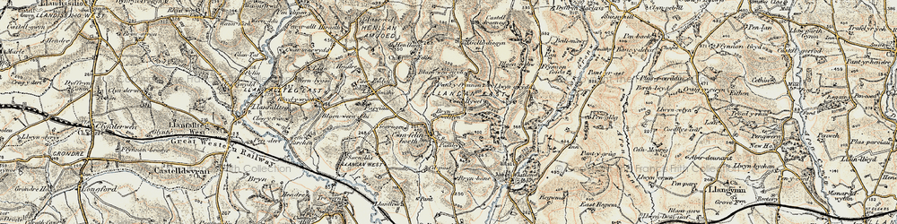 Old map of Whitland Abbey in 1901